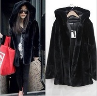 High Quality mink hair with a hood outerwear faux fur coat long-sleeve medium-long fur overcoat outerwear free shipping
