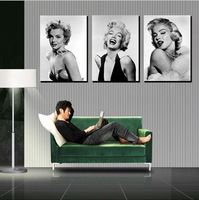 3 panel moderm romantic home decoration combinative canvas painting  Marilyn Monroe picture on wall hunging