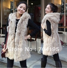 2013 winter Fur Jacket Faux Fur vest Rabbit for Women's Plus Size Medium-long Fur Vest