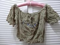 Embroidered bare midriff belly dance upperwear Bohemia all-match skirt bikini shirt