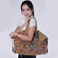 2013 canvas bag women's handbag fashion vintage messenger bag female trend national air bag women's print bag