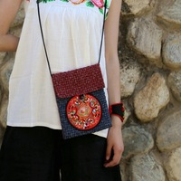 National trend bags fashionable casual women's handbag hemp miao embroidery bag messenger bag