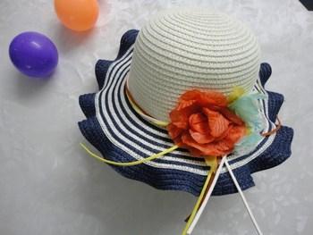 2013 summer female child straw braid the waves flower cap child beach sun-shading laciness flower summer hat princess hat