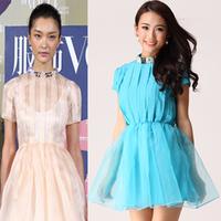 Cuckoos 2014 fashion spring ruslana korshunova organza stand collar diamond pleated one-piece dress