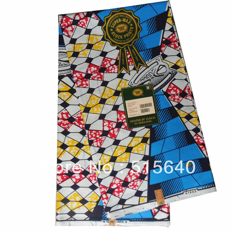 Tissu africain néerlandais bloc de cire réel d'impression. hollandais 6 mètres 100% amy078 coton