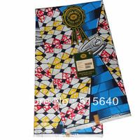 African Fabric Dutch Real Wax Block Print Hollandais 6 Yards 100% Cotton AMY078