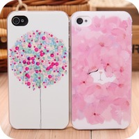 Small fresh colored drawing  protective female phone case  for apple  iphone4 4s