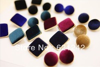 B051 New Style Hot Sale Square And Round Pleuche Earrings Korean Fashion Ear Rings High Quality Jewelry The Ear Nail