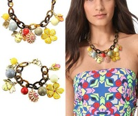 Fashion 2013 new amber colorful garden fairy lovely frog bee flower exaggerated pendant choker statement brand womens necklace