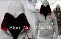 Free shipping Assassin's Creed 3 Conner Kenway Coat Jacket Hoodie Top Costume F Cosplay