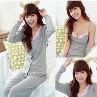 Free shipping sleepwear women's long-sleeve rose 3 pieces set sleepwear,warm sexy pajamas,lovely cotton nightwear(China (Mainland))