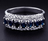 Jenny G Jewelry Size 6-9 Deluxe Lady's Blue Sapphire 10KT White Gold Filled Band Ring for Women