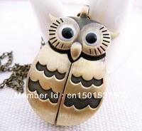 free shipping Cartoon owl pocket watch crescent Green ancient slide