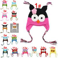 2013 Retail Cartoon Children 100%Handmade hat Crochet Hats Animal Styles Baby Owl Beanie winter hats Kids Flower caps 15 colors