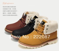 new 2013 fashion winter boots 100% cow leather western work tooling Martin boots cotton-padded plus wool snow boots keep warm
