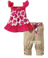 3 Wholesale 1sets summer girl set short sleeve t shirt+pants children 2pcs Girls rose vest leisure baby suit