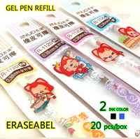 Korean stationery, erasable gel pen refill, dream castle serial, 20 pcs, Black / Blue, rubber erase, free shipping