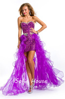 2013 new fashion high low sweetheart crystal sequined purple organza ruffles short front long back evening party prom dresses