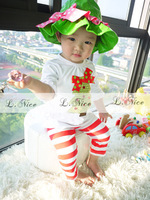 Free Shipping Retail 2013 Baby Clothing Set Girls 2pcs Christmas Style Short Sleeves T-shirt+Pants New&Hot Style Baby Clothes
