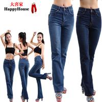 2013 autumn slim plus size elastic bell bottom jeans high waist all-match mm