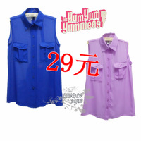 Women's women's high quality chiffon shirt vest cardigan purple chiffon shirt top