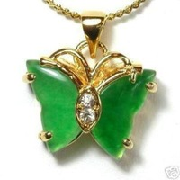 Chinese Green Jade Butterfly Pendant & Necklace