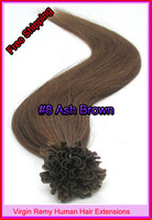 "Free Shipping 18"" 20"" 22"" Keratin Nail Tip Hair Virgin Remy Human Hair Extensions 0.5g/s 100s/pack Color #8 Ash Brown 50g"