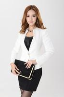 Fashion new 2014 Spring autumn plus size white blazers for women jacket winter female slim formal ladies work wear free shipping