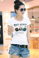 2013 Sell like hot cakes wholesale casual loose lady T-shirt with short sleeves Free shipping