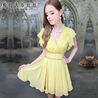 Yellow chain pleated elegant butterfly sleeve chiffon women's beautiful dress