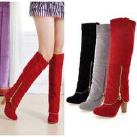 High Boots female spring and autumn boots 2013 autumn high-heeled boots scrub fashion zipper high-leg boots plus size