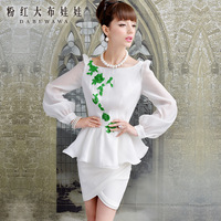 2013 autumn white  green embroidery lace bodice elegant ol long-sleeve shirt