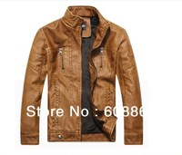 Free shipping! Men's leather coat fashion vintage Must Have outerwear slim motorcycle PU leather jacket