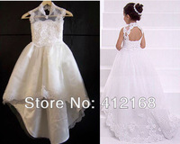 2014 Princess Back Open Bridemaid Flower Gril Dresses Kids  Prom Gown Wedding Freeshipping Children's