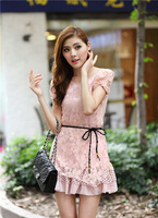2013 Fashion Women's Clothing lady cotton lace mini dresses patchwork club  slim summer short-sleeve