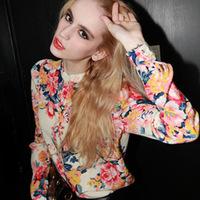 2013 new European fashion  stype ladies ' flowers  turn down collar long sleeve shirt chiffon blouses shoulder pads brand  tops