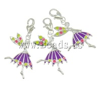 Free shipping!!!Zinc Alloy Lobster Clasp Charm,, Fairy, silver color plated, enamel, nickel, lead & cadmium free, 20x44x3mm