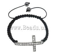 Free shipping!!!Zinc Alloy Shamballa Bracelets,, Cross, handmade, with rhinestone, 37x21x5mm, Length:7.5 Inch, Sold Per 7.5 Inch