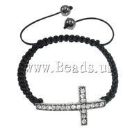 Free shipping!!!Zinc Alloy Shamballa Bracelets,, Cross, handmade, with rhinestone, 37x21x5mm, Length:7.5 Inch, Sold Per 7.5 Inch