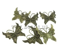 Free shipping!!!Zinc Alloy,, Butterfly, antique bronze color plated, nickel, lead & cadmium free, 41x43x3.50mm