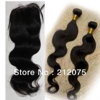 "10-24""inch Peruvian Virgin Hair 1pcs Lace Top Closure 4x3.5""+2pcs Human hair weft extensions 3pcs/lot Natural Color  can be dyed"