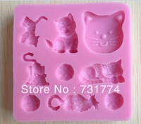 1Pcs Cartoon cat Chocolate Candy Jello silicone Mold Mould cake tools Bakeware sugar craft CC075