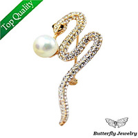 (MOQ $10)Free shipping Top quality Full Rhinestone Round Pearl Snake Brooch Pin Fashion 2013 New Jewelry Wholesale