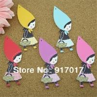 Free Shipping 50pcs cute girl cartoon craft 88x42mm sweater pure wood self-shade decorative pattern cute button 100 30