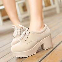 Hot Selling Platforms Round Toe Women's High Heels Lace Up Platform Sneakers for Women Fashion Height Increasing Women Pumps