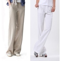 Ms straight loose wide-legged pants of tall waist leisure female plus-size thin cotton and linen trousers linen trousers