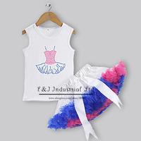 Chirmast Kids Clothing Set 2 PCS Lady Girl Top And Tutu dress For Lovely Girl Princess Dresses TC30721-6