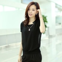 Free shipping 2013 new arrival summer  shorts twinset casual jumpsuit pants gauze t-shirt spaghetti strap shorts 2027