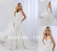 Free Shipping Mermaid Sweetheart Floor Length Applique Beading Organza  Wedding Dresses Online