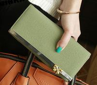 2014 new  elegant metal bow flip design women's long wallets ladies' pursue women wallet